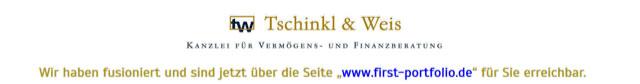 Wir haben fusioniert und sind jetzt über die Website www.first-portfolio.de für Sie erreichbar